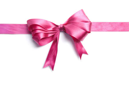 pink ribbon with bow isolated Stock Photo - 4628961
