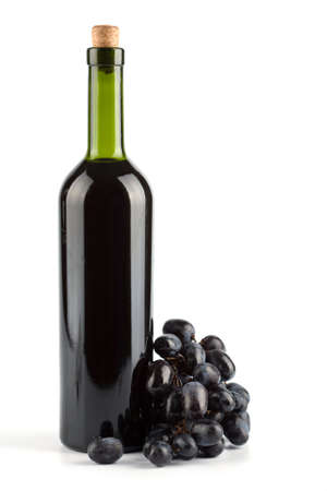 bottle of wine and grapes isolated Stock Photo - 4629075