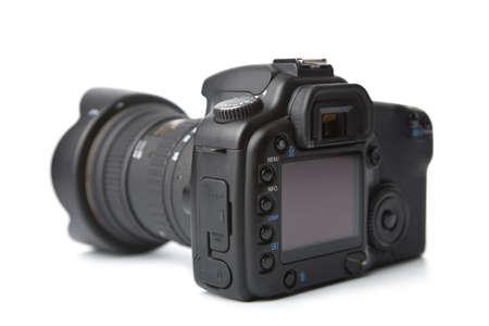 telephoto: black DSLR camera isolated