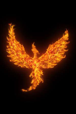 phoenix bird: burning phoenix isolated over black background Stock Photo