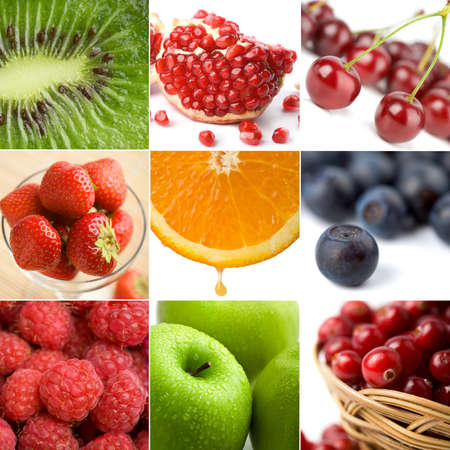 peal: colorful fruit collage of nine photos
