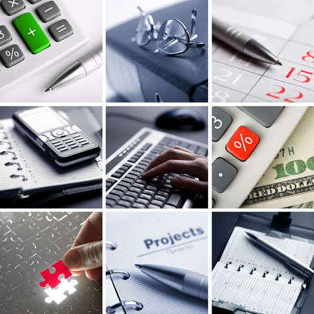 contabilidad: collage de negocio de nueve fotos