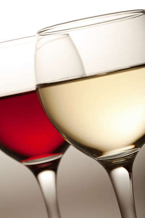 glasses of white and red wine isolated Stock Photo
