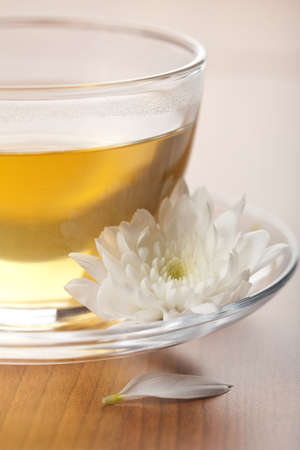 cup of green tea and white flower Stock Photo - 4799951