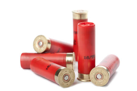 cartridges: shotgun cartridges isolated over white Stock Photo