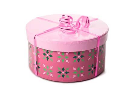 pink gift box with ribbon isolated photo