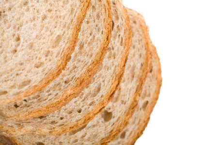wholemeal bread slices isolated photo