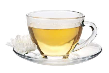 cup of green tea and white flower isolated Stock Photo - 5053746