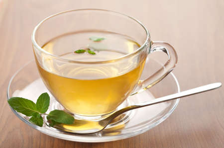 cup of green tea with mint Stock Photo - 5267580