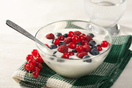 yoghurt with wild berries photo