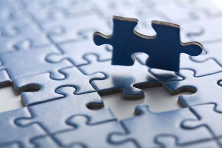 abstract puzzle background with one piece missing Stock Photo - 5414675