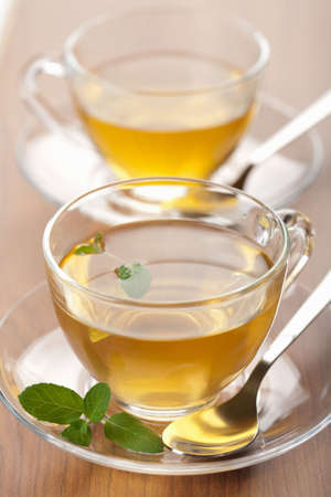 two cups of green tea with mint Stock Photo - 5690842