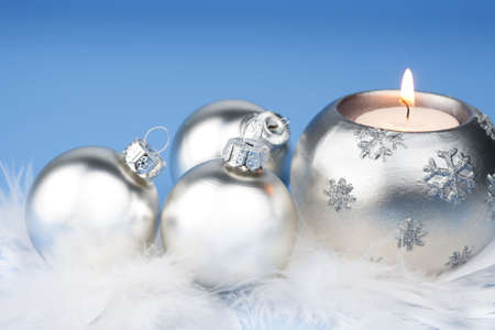 silver christmas balls and candle photo