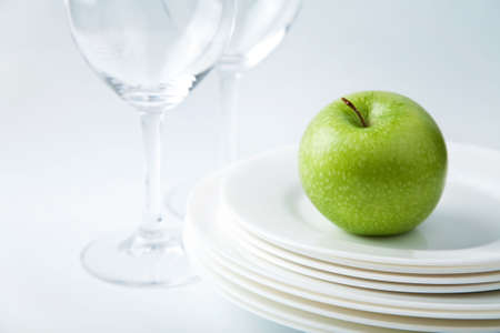 apple plates and glasses photo