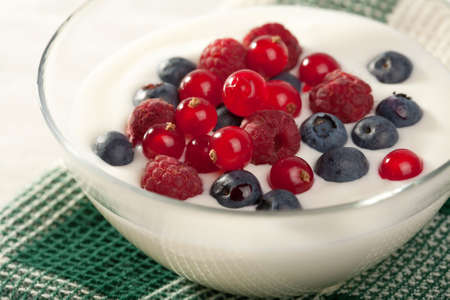 yogurt with wild berries  photo