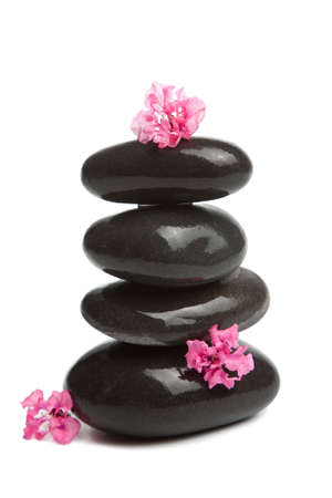 spa stones and pink flowers isolated  photo