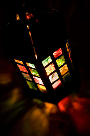 colorful lantern: colorful lantern burning in the dark