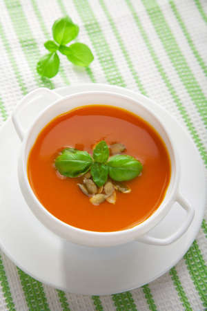warm cloth: pumpkin soup  Stock Photo