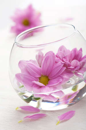 aroma bowl: pink flowers in vase  Stock Photo