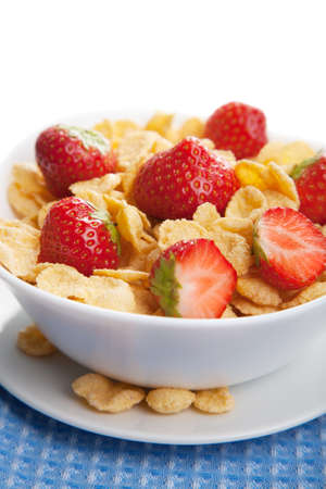 cereal with strawberry isolated photo