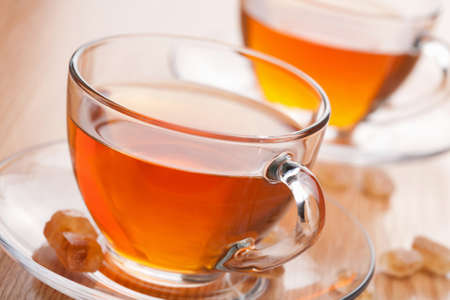 brown cup tea: two cups of tea