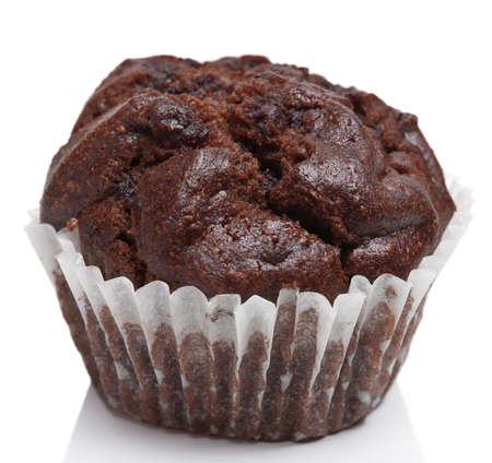 chocolate muffins isolated photo