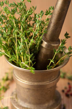 copper mortar with herbs Stock Photo - 8358540