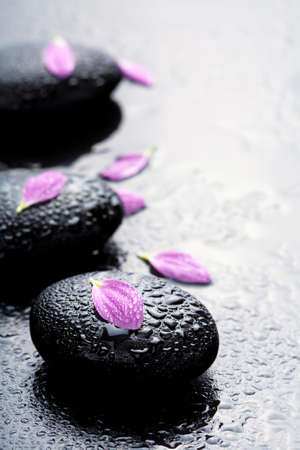 alternative wellness: spa stones and petals  Stock Photo