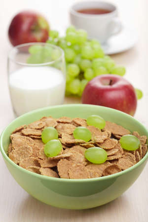 cornflakes with grapes  photo