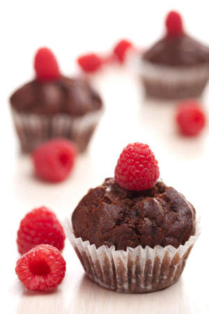 chocolate muffins with raspberry  photo