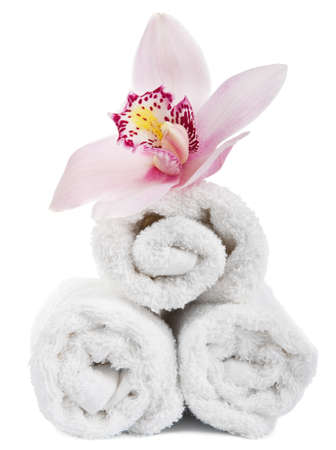 towels and flower isolated photo