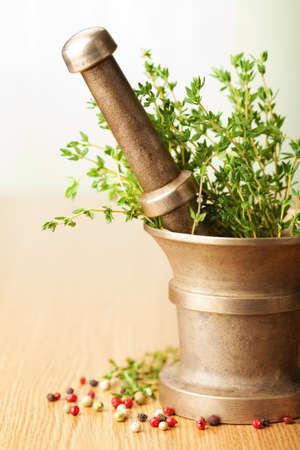 mortar with herbs photo