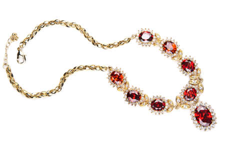 necklace: gold necklace with gems isolated