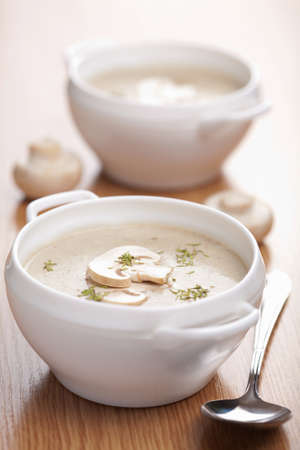 vegetable soup: champignon soup  Stock Photo