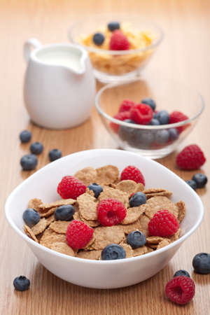 cereal bowl: cornflakes with fresh berries for breakfast