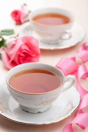 vintage dishware: tea in elegant cups