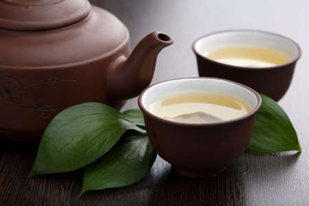 teapots: green tea Stock Photo