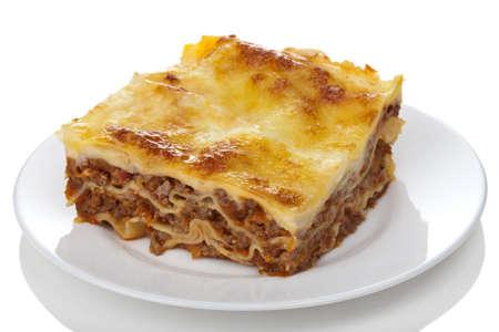 lasagna: bolo�esa Lasa�a cl�sico aislado Foto de archivo