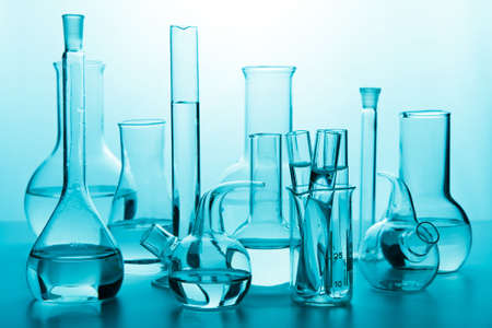 chemical laboratory: chemical glassware Stock Photo