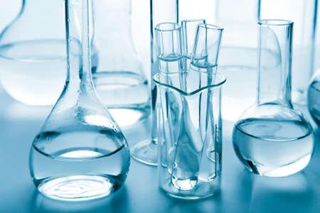 laboratory glassware toned blue Stock Photo - 9307986