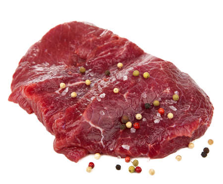 raw beef: raw beef with spices isolated