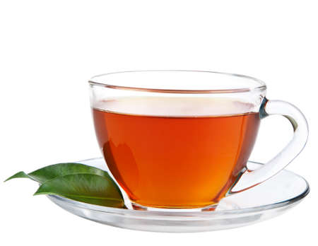 brown cup tea: cup of tea isolated Stock Photo