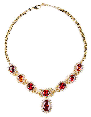 gold necklace with gems isolated