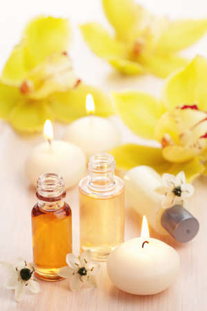 aromatic: spa set with essential oils and flowers  Stock Photo