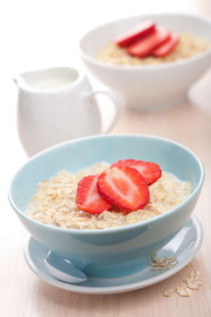 cereal with fresh strawberry  photo