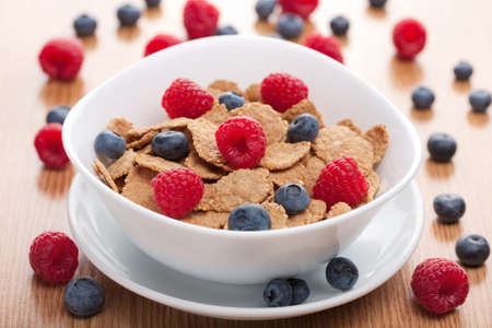 blue berry: cornflakes with fresh berries  Stock Photo