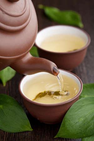 chinese tea pot: t� verde  Foto de archivo