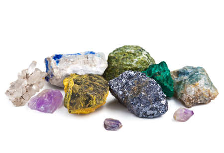 semiprecious: collection of minerals isolated Stock Photo