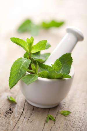 medecine naturelle: mortier avec des herbes