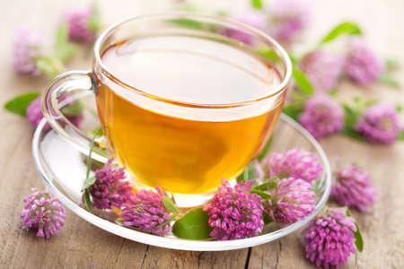 tazza di te: tè alle erbe, fiori trifoglio